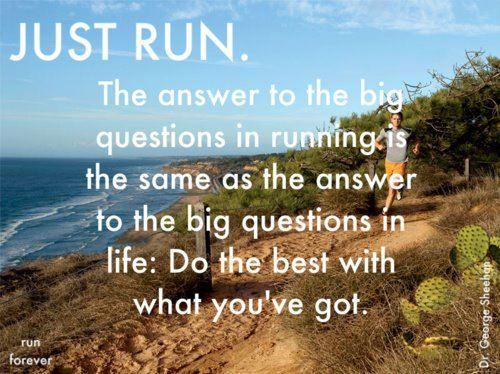 Just Run. The Answer To The Big Questions In Running Is The Same As The Answer To The Big Questions On Life, Do The Best With What You've Got. ~ Body Quotes
