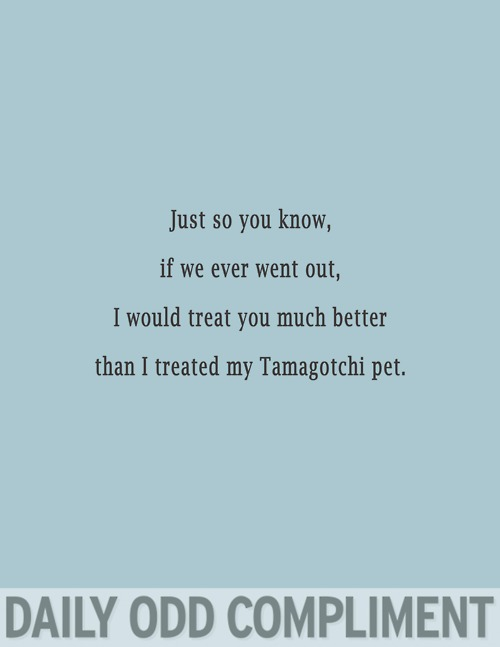 Just So You Know, If We Ever Went Out, I Would Treat You Much Better Than I Treated My Tamagotchi Pet.