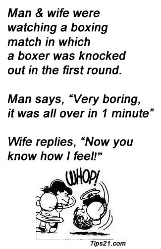 Man & Wife Were Watching A Boxing Match In Which A Boxer Was Knocked Out In The First Round….