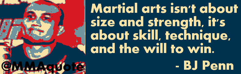 Martial Arts Isn't About Size And Strength, It's About Skill, Technique, And The Will To Win. - BJ Penn ~ Boxing Quotes