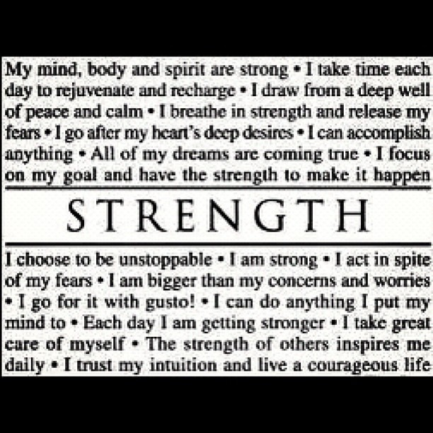 My Mind, Body And Spirit Are Strong…