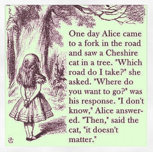One Day Alice Came To A Fork In The Road And Saw A Cheshire Cat In A Tree…