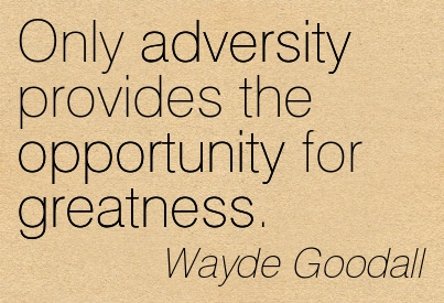 Only Adversity Provides The Opportunity For Greatness. - Wayde Goodall