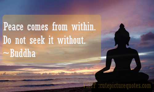 "Peace Comes From Within. Do Not Seek It Without "" - Buddha"