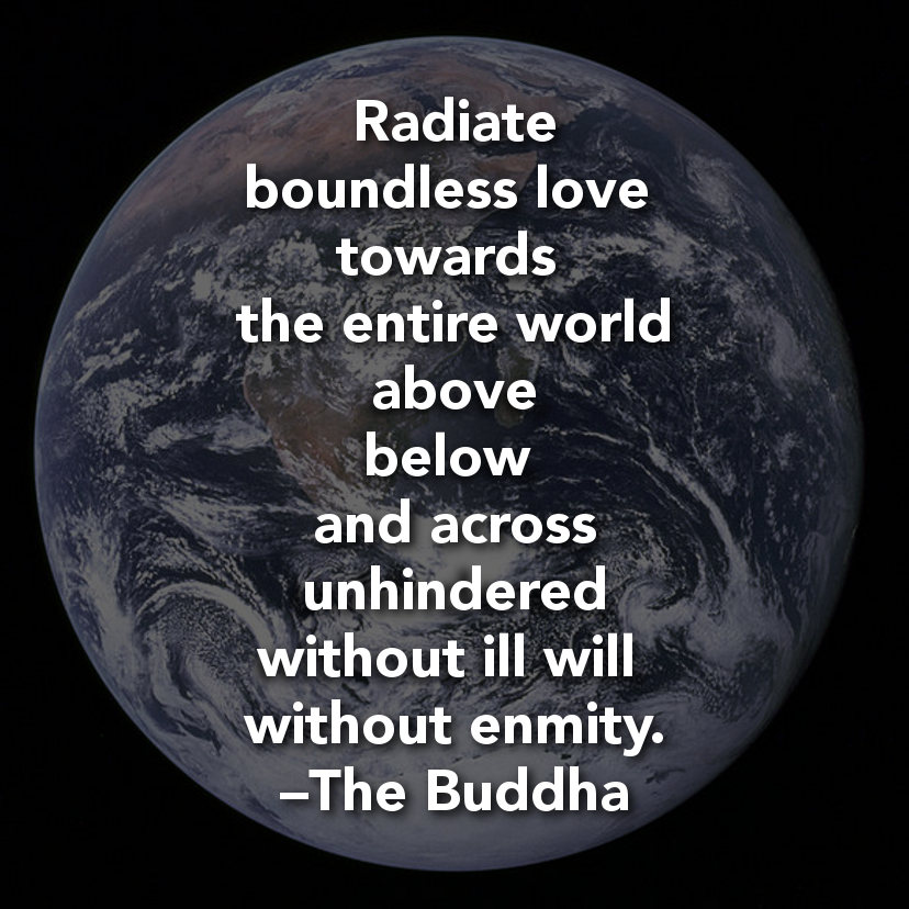 Radiate Boundless Love Towards The Entire World  Above Below And Across Unhindered Without Ill Will Without Enmity. - The Buddha