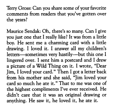 Terry Gross; Can You Share Some Of Your Favorite Comments From Readers That You've Gotten Over The Years!