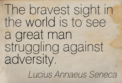 The Bravest Sight In The World Is To See A Great Man Struggling Against Adversity. - Lucius Annaeus Seneca