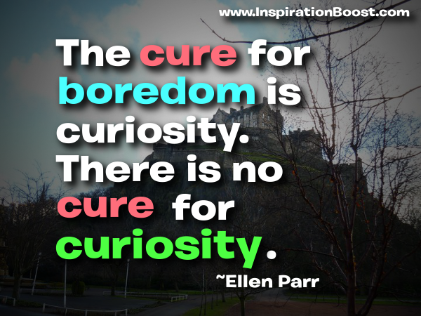 The Cure For Boredom Is Curiosity. There Is No Cure For Curiosity. - Ellen Parr