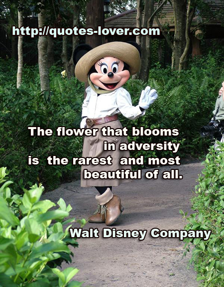 The Flower That Blooms In Adversity Is The Rarest And Most Beautiful Of All. - Walt Disney