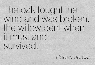 The Oak Fought The Wind And Was Broken, The Willow Bent When It Must And Survived. - Robert Jordan ~ Adversity Quotes