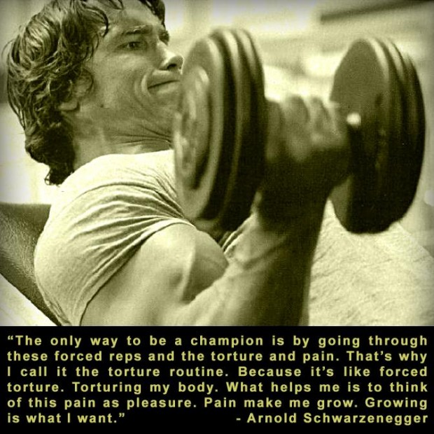 """"""" The Only Way To Be A Champion Is By Going Through These Forced Reps And The Torture And Pain. That's Why I Call It The Torture Routine… Arnold Schwarzenegger"""