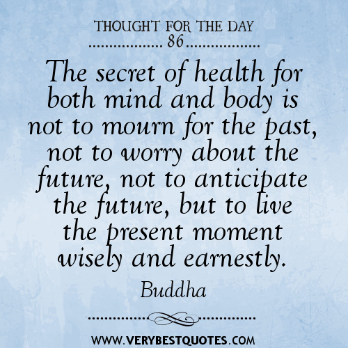 The Secret Of Health For Both Mind And Body Is Not To Mourn For The Past, Not To Worry About The Future, Not To Anticipate The Future, But To Live The Present Moment Wisely And Earnestly. -  Buddha