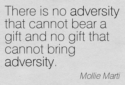 There Is No Adversity That Cannot Bear A Gift And No Gift That Cannot Bring Adversity. -  Mollie Marti