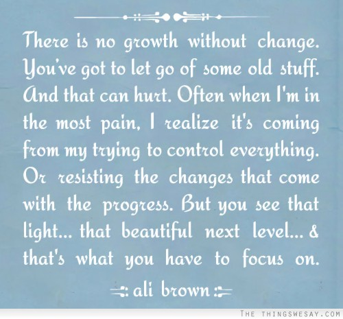 There Is No Growth Without Change, You've Got To Let Go Of Some Old Stuff. And That Can Hurt… - Ali Brown
