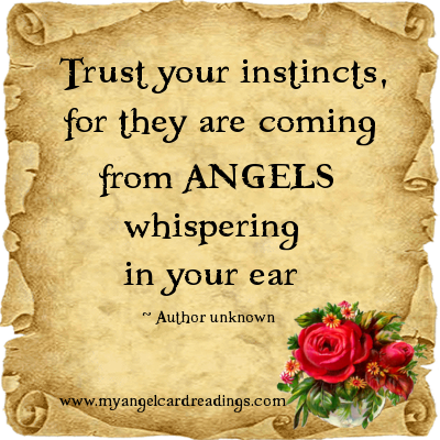 Trust Your Instincts, For They Are Coming From Angels Whispering In Your Ear.