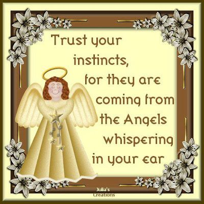 Trust Your Instincts, For They Are Coming From The Angels Whispering In Your Ear.