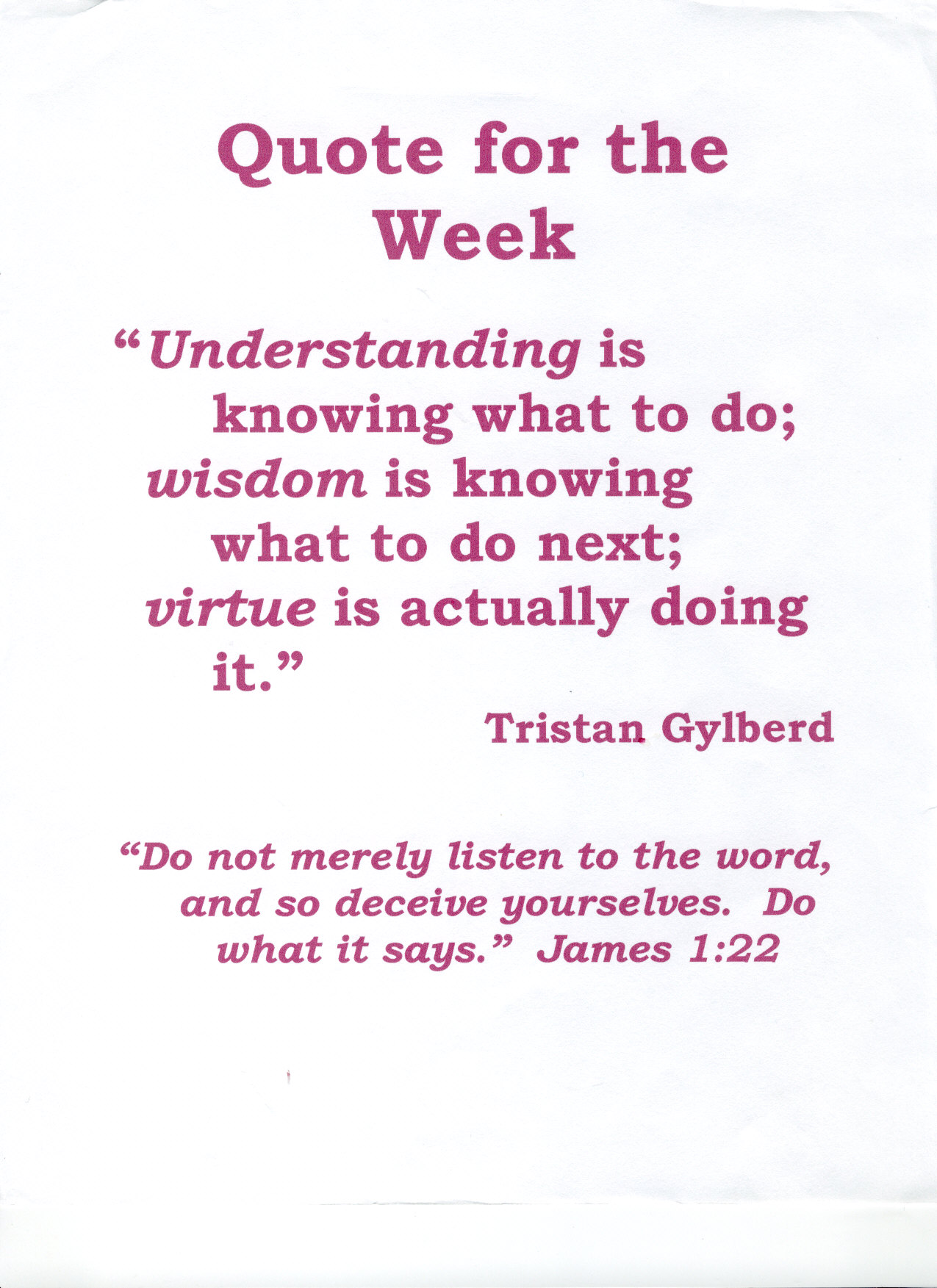 """ Understanding Is Knowing What To Do, Wisdom Is Knowing What To Do Next, Virture Is Actually Doing It  "" - Tristan Gylberd ~ Body Quotes"