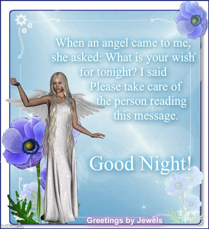 When An Angel Came To Me, She Asked, What Is Your Wish For Tonight  I Said Please Take Care Of The Person Reading This Message. Good Night.
