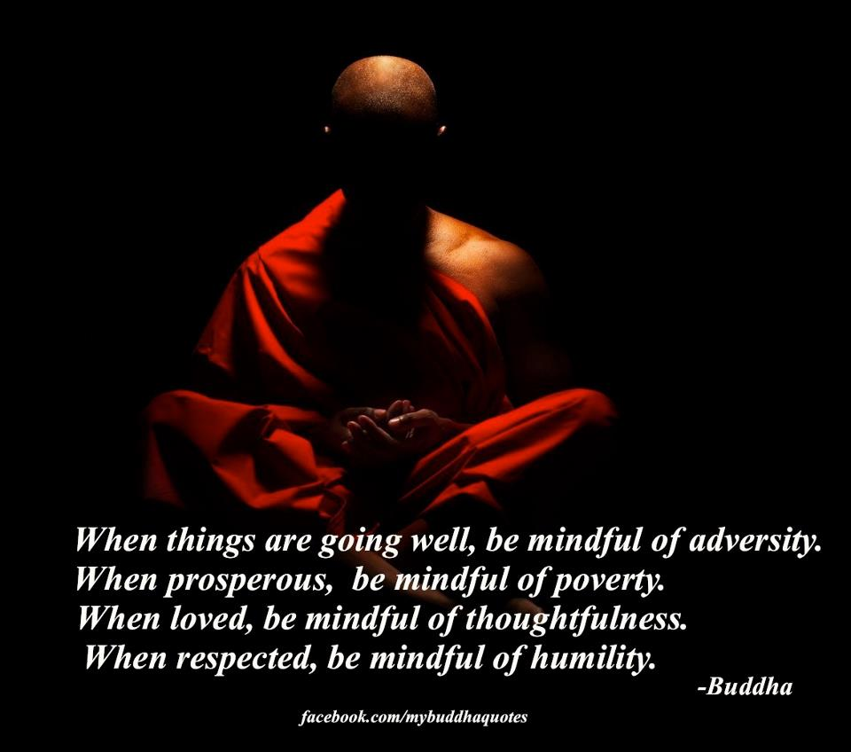 When Things Are Going Well, Be Mindful Of Adversity. When Prosperous, Be Mindful Of Poverty. When Loved, Be Mindful Of Thoughtfulness. When Respected, Be Mindful Of Humility. - Buddha