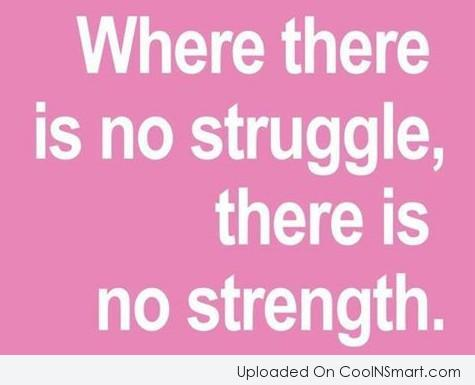 Where There Is No Struggle, There Is No Strength.  ~ Adversity Quotes