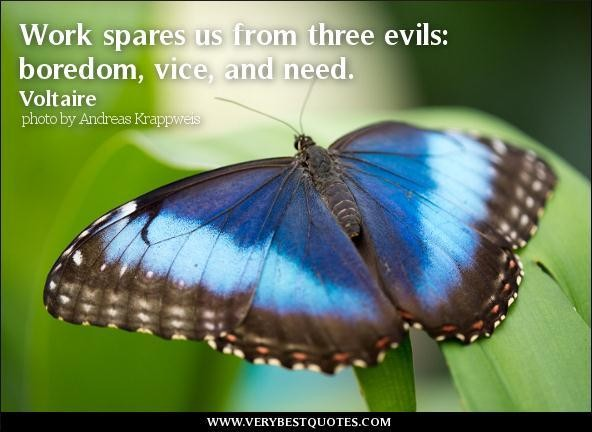 Work Spare Us From Three Evils, Boredom, Vice And Need. - Voltaire