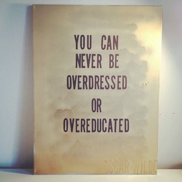 You Can Never Be Overdressed Or Overeducated. ~ Clothing Quotes