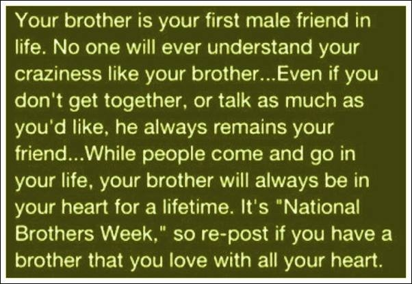 Your Brother Is Your First Male Friend In Life. No One Will Ever Understand Your Craziness Like Your Brother, Even If You Don't Get Together…