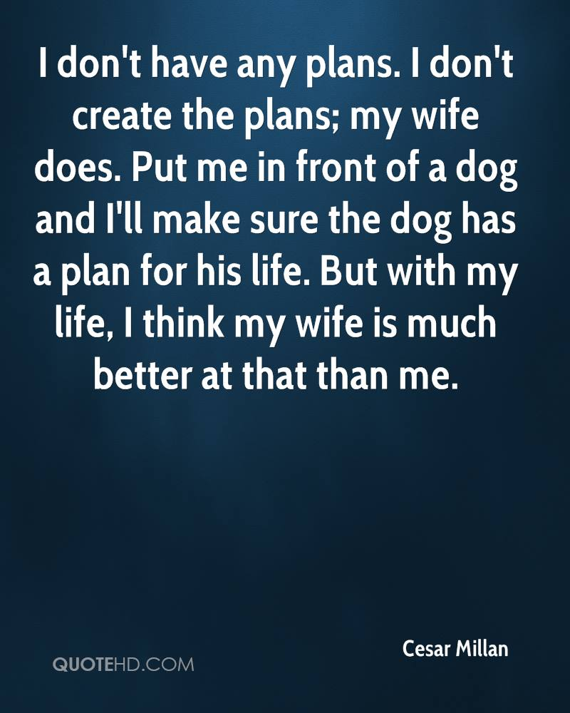 Dog has a plan for his life. but with my life, i think my wife is much
