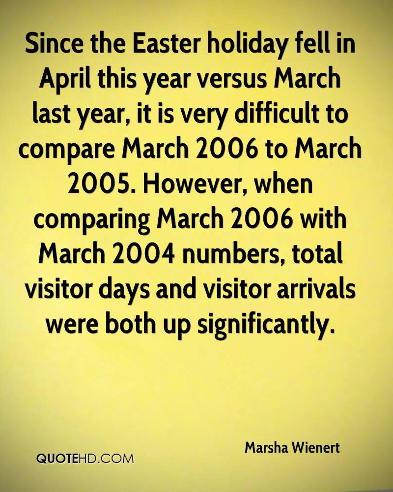 Since The Easter Holidays Fell In April This Year Versus March Last Year, It Is Very Difficult To Compare March 2006 To March 2005… - Marsha Wienert
