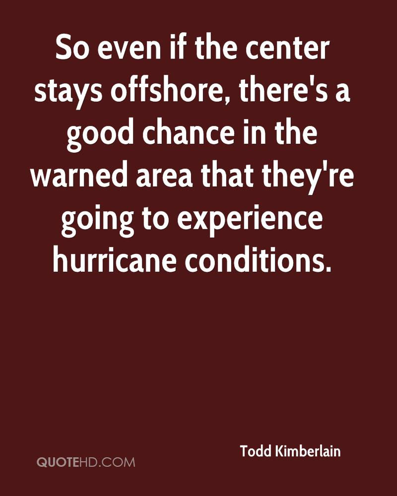 So Even If The Center Stays Offshore, There's A Good Chance In The Warned Area Thay They're Going To Experience Hurricane Conditions. - Todd Kimberlain