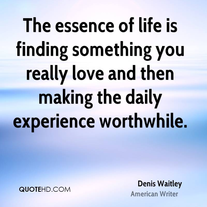 The Essence Of Life Is Finding Something You Really Love And Then Making The Daily Experience Worthwhile. - Denis Waitley