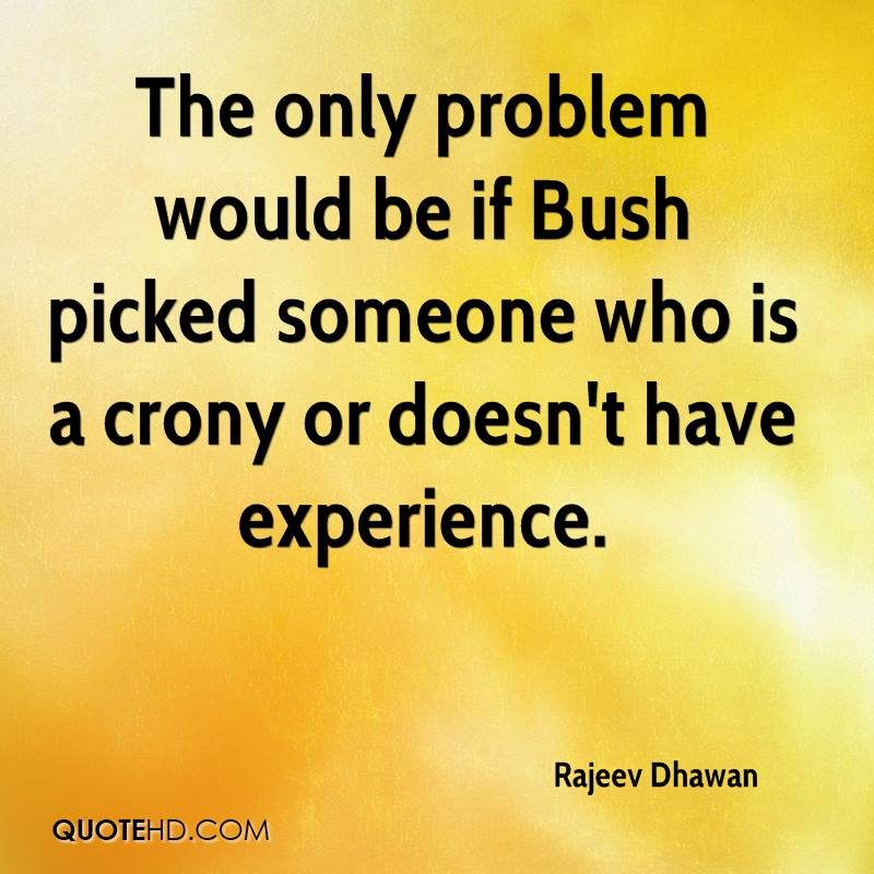 The Only Problem Would Be If Bush Picked Someone Who Is A Crony Or Doesn't Have Experience. - Rajeev Dhawan