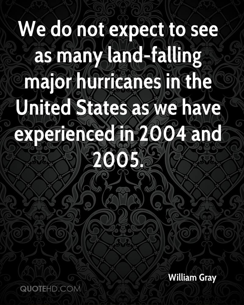 We Do Not Expect To See As Many Land-Filling Major Hurricanes In The United States As We Have Experienced In 2004 And 2005. - William Gray