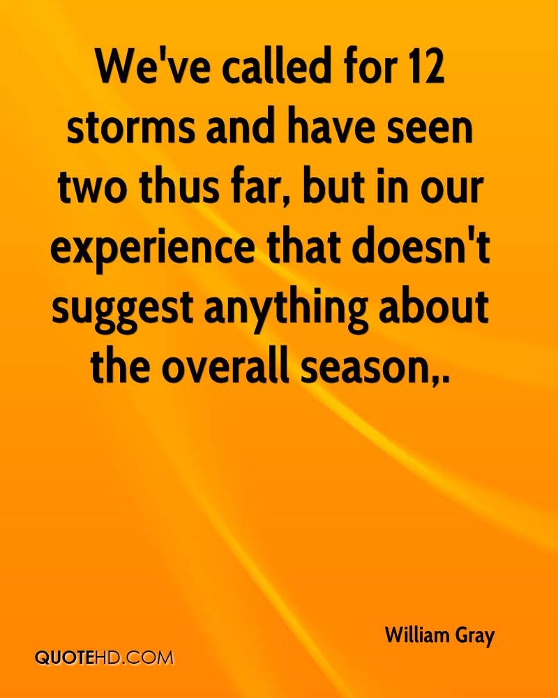 We've Called For 12 Storms And Have Seen Two Thus Far, But In Our Experience That Doesn't Suggest Anything About The Overall Season. - William Gray