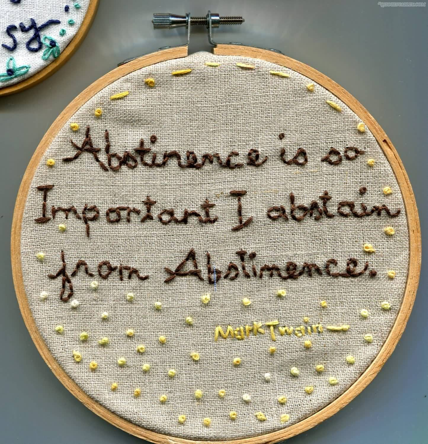 Abstinence Is So Important I Abstain From Abstinence.