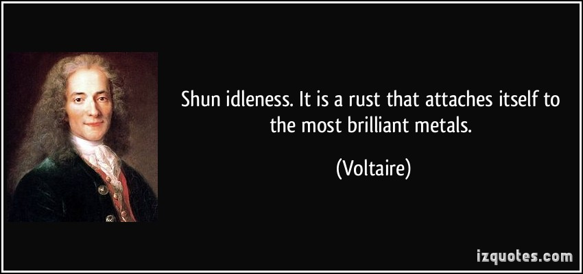 Shun Idleness. It Is A Rust That Attaches Itself To The Most Brilliant Metals. - Voltaire