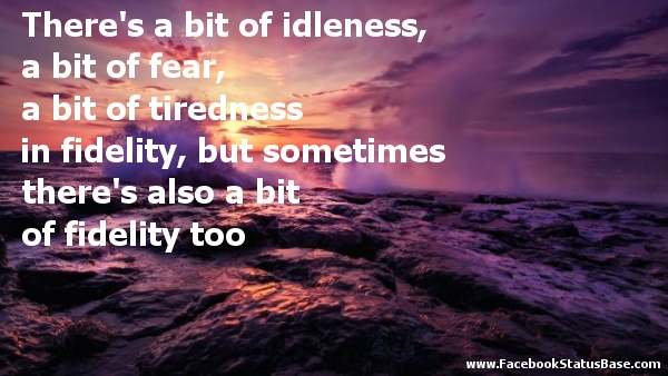 There's A Bit Of Idleness, A Bit Of Fear, A Bit Of Tiredness In Fidelity, But Sometimes There's Also A Bit Of Fidelity Too.