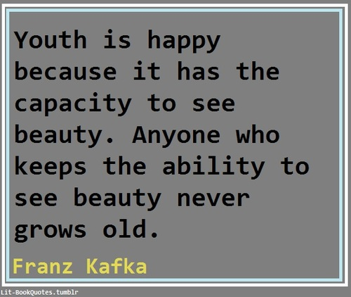 Youth Is Happy Because It Has The Capacity To See Beauty. Anyone Who Keeps The Ability To See Beauty Never Grows Old. - Franz Kafka