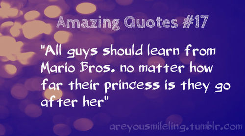 """ All Guys Should Learn From Mario Bros, No Matter How Far Their Princess Is They Go After Her """