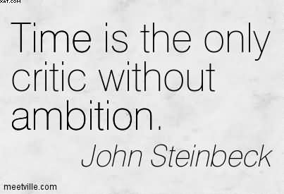 Time Is The Only Critic Without Ambition. - John Steinbeck