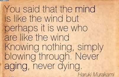 You Said That The Mind Is Like The Wind But Perhaps It Is We Who Are Like The Wind Knowing Nothing, Simply Blowing Through. Never Aging, Never Dying. - Haruki Murakami