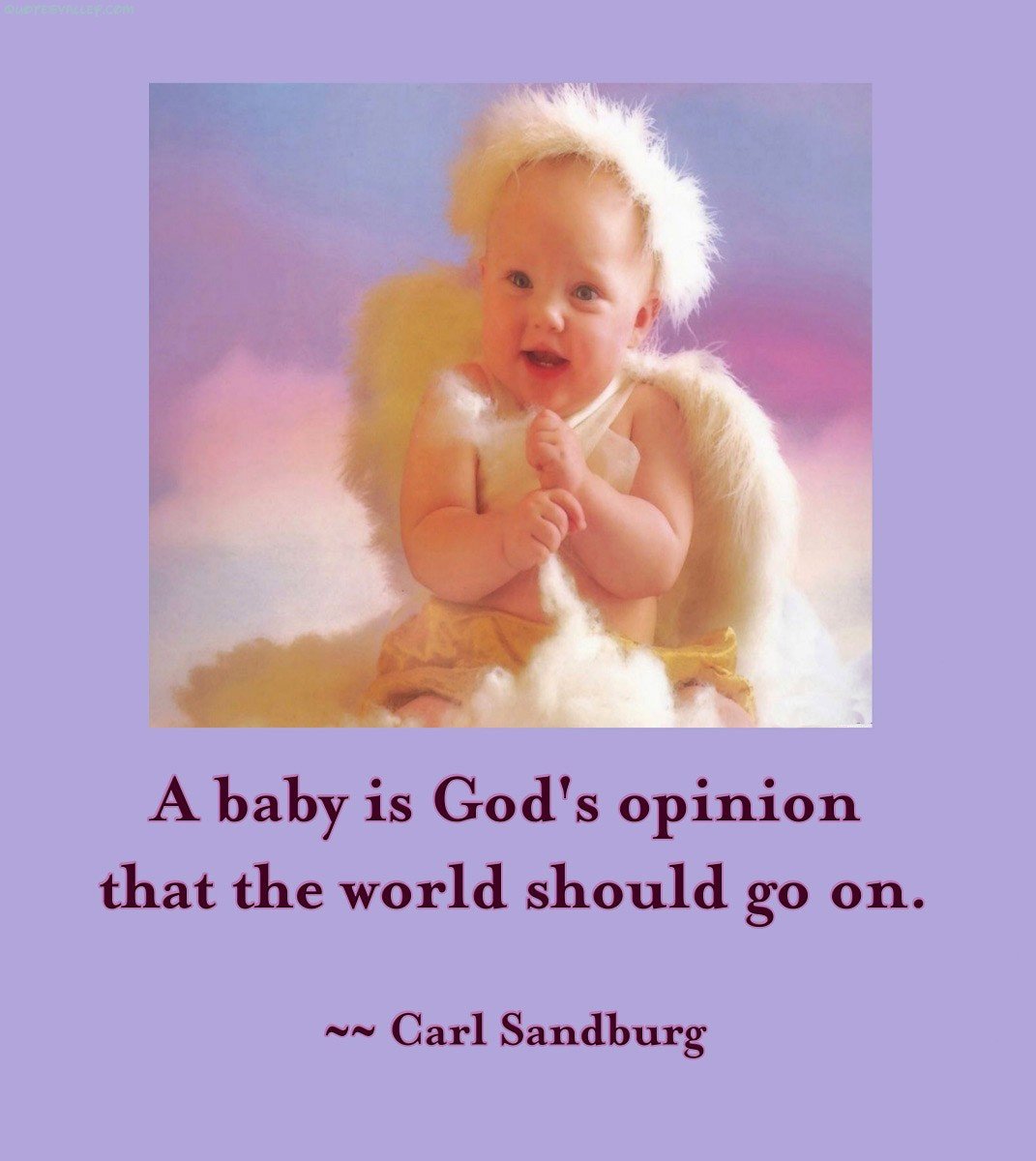 A Baby Is God's Opinion That The World Should Go On. - Carl Sandburg