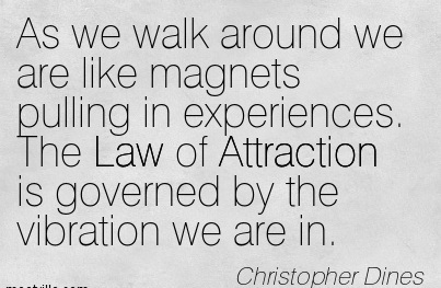 As We Walk Around We Are Like Magnets Pulling In Experiences. The Law Of Attraction Is Governed By The Vibration We Are In. - Christopher Dines