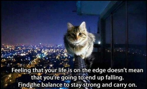 Feeling That Your Life Is On The Edge Doesn't Mean That You're Going To End Up Falling. Find The Balance To Stay Strong And Carry On.