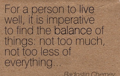 For A Person To Live Well, It Is Imperative To Find The Balance Of Things Not Too Much, Not Too Less Of Everything… - Radostin Chernev