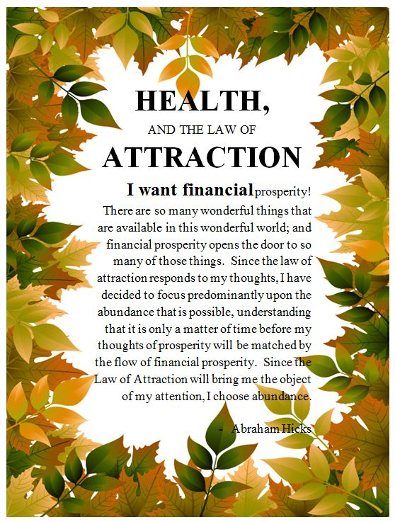 Health, And The Law Of Attraction.