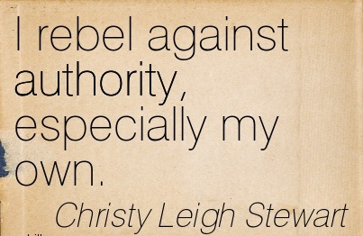 I Rebel Against Authority, Especially My Own. - Christy Leigh Stewart