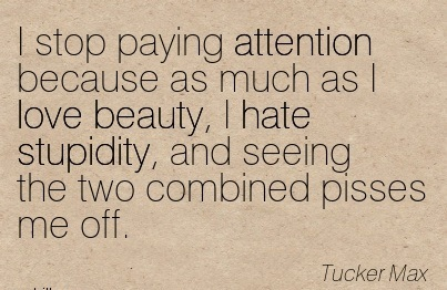 I Stop Paying Attention Because As Much As I Love Beauty, I Hate Stupidity, And Seeing The Two Combined Pisses Me Off. - Tucker Max