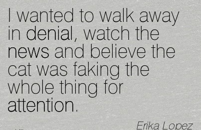 I Wanted To Walk Away In Denial, Watch The News And Believe The Cat Was Faking The Whole Thing For Attention. - Erika Lopez