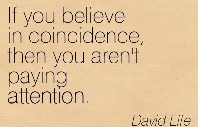 If You Believe In Coincidence, Then You Aren't Paying Attention. - David Life